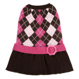 Dog Dress Knitted Pink Argyle
