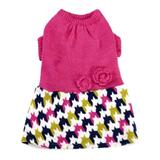 Dog Dress Knitted Hot Pink Houndstooth