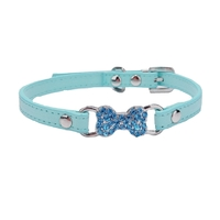 Dog Collar  Aqua Rhinestone Bone