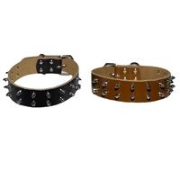 Dog Collar 3cm Genuine Leather Studded