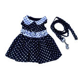 Dog Dress Black Polka Dot with Matching Lead