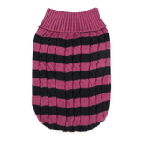 XS Dog Sweater Pink Stripe Cable Twist