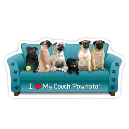 Pug Dog Magnet Couch Pawtato
