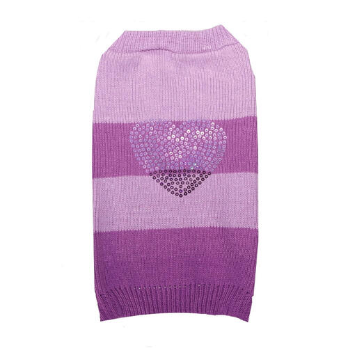 Dog Sweater Purple Rhinestone Heart