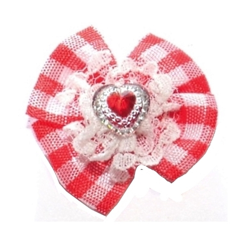 Dog Hair Bow Red Check Heart