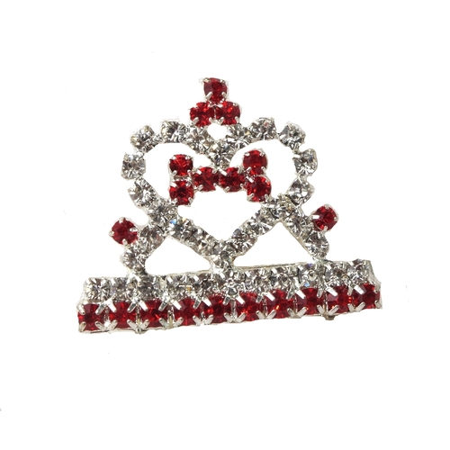 Dog Hair Clip Tiara Red Rhinestone