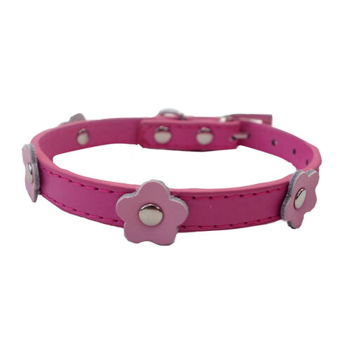 Small Dog Collar Pink Flowers