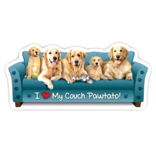 Golden Retriever Dog Magnet Couch Pawtato
